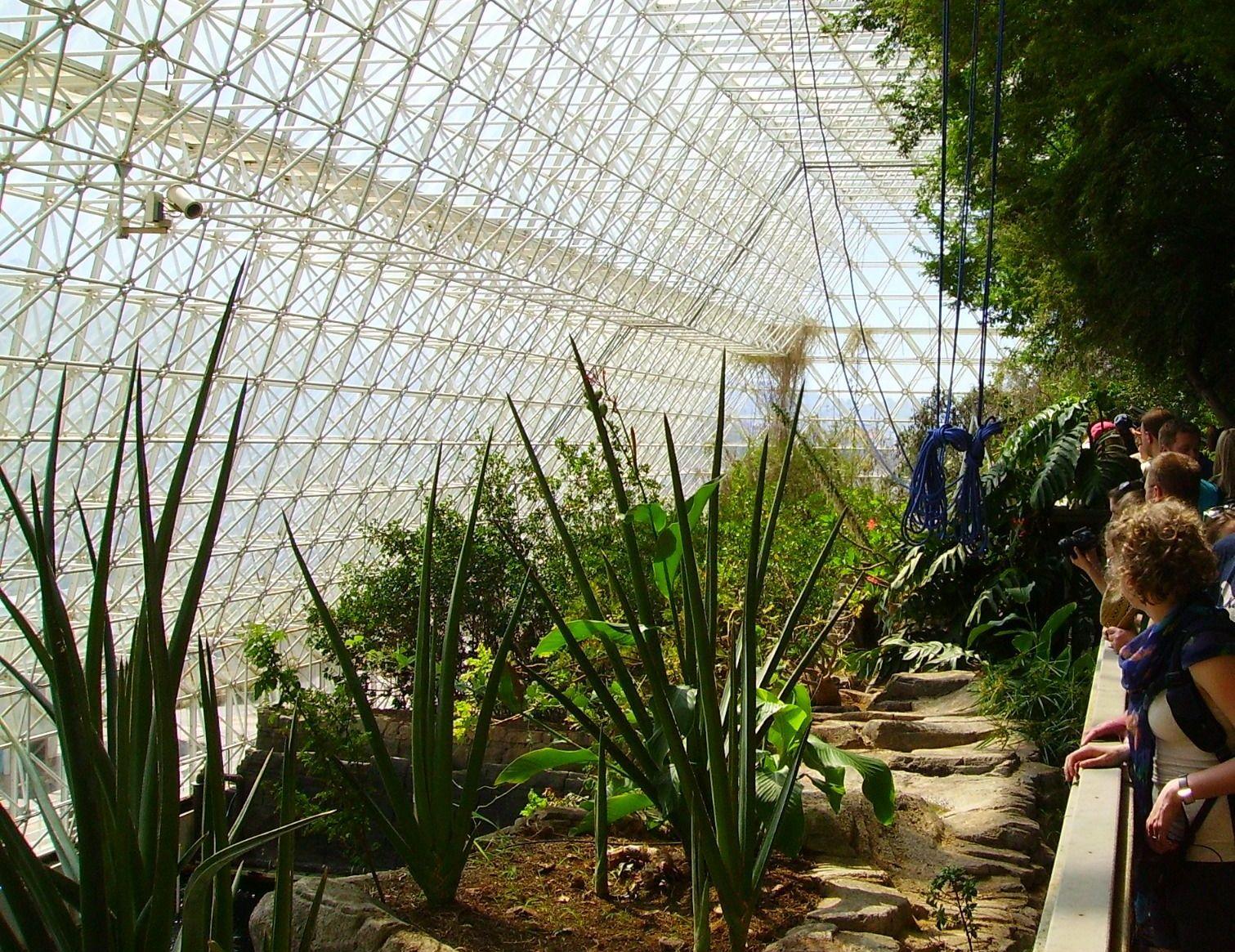 """Klimaschutzmanager Felix Schütte beim Besuch der Biosphäre 2: Das Experiment sollte Anfang der 90er Jahre zeigen, dass das menschliche Überleben in einem geschlossen System, das nicht die Erde (""""Biosphäre 1"""") selbst ist, dauerhaft möglich ist. Viel Know-how, jahrelange Planung und rund 200 Mio. $ Baukosten halfen nichts. Allen Anstrengungen zum Trotz scheiterte das Experiment kläglich. Nach zwei Jahren waren die Bedingungen auf dem """"nachgebauten Planet Erde"""" so lebensfeindlich, dass die acht Bewohner evakuiert werden mussten. Ernsthafte weitere Versuche wurden seither nie wieder unternommen. Unsere Planet bleibt als Lebensraum vorerst alternativlos."""